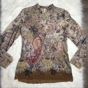 Joie sheer brown floral long sleeve blouse Medium